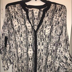 Designer Calvin Klein Silk Black & White Blouse